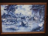 J C Hunnik - 6 Blue and White Tiles Incorporated Into Decorative Tray (4 of 16)