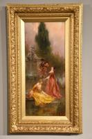 "Oil Painting Pair by Thomas Gray ""the Love Letter"" and ""the Serenade"" (2 of 10)"