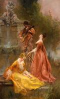 "Oil Painting Pair by Thomas Gray ""the Love Letter"" and ""the Serenade"" (4 of 10)"
