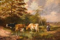 """Oil Painting by Samuel Joseph Clark """"the Cow Maid"""" (2 of 5)"""
