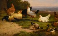 "Oil Painting by Cornelius Van Leemputten ""Chickens in Landscape"" (4 of 4)"