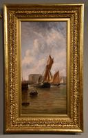 "Oil Painting Pair by Henry Witherspoon ""Barge Entering Dover Harbour"" (2 of 10)"