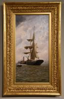 "Oil Painting Pair by Henry Witherspoon ""Barge Entering Dover Harbour"" (5 of 10)"