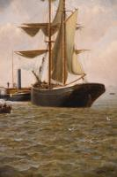 "Oil Painting Pair by Henry Witherspoon ""Barge Entering Dover Harbour"" (8 of 10)"