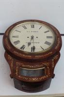 Wall Clock Double Fusee Victorian Leicester Clock Mother of Pearl in Rosewood