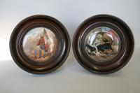 Set of Two Prattware Pot Lids in Mahogany Frames c.1860