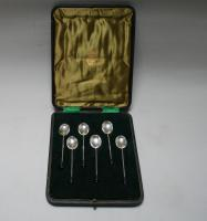 Boxed Set of 6 Silver & Bean Coffee Spoons