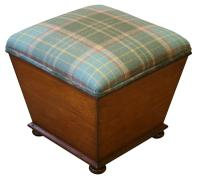Victorian Ottoman with Upholstered Top & Mahogany Sides