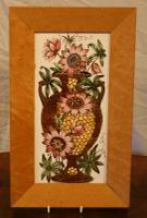 Large Victorian Ceramic Tile Depicting Urn with Passion Flowers