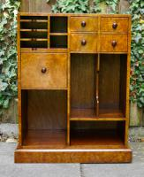 Small Bookcase with Drawers Burr Elm on Solid Mahogany 1960s