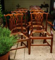 Set of 10 Solid Mahogany Country Chippendale Dining Chairs Comprising of 8 Singles + 2 Carvers