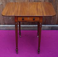 Small Mahogany Side Table with Drop Flaps Supported On Four Finely Turned Legs