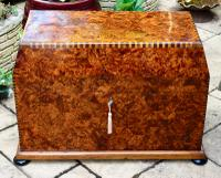 Extremely Large Attractive Unusual Parquetry Thuya Wood Highly Scented Cedar Lined Box / Casket Hand Crafted