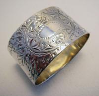 Edward Hutton Hallmarked Solid Sterling Silver Serviette Napkin Ring. English 1893