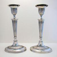 Pair of Antique Edwardian Solid Sterling Silver English Hallmarked Candlesticks Candle Holders. George III Revival / Adams Style 1902