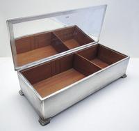 Huge 25Cm Sterling Silver English Cigarette Cigar Trinket Jewelry Casket Case Box. Solid Lid 1965 (10 of 11)