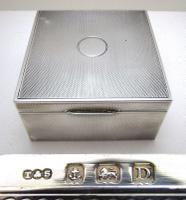 Quality Art Deco Solid Sterling Silver Cigarette Cigar Trinket Jewelry Casket Case Box. Minimalist. Turner & Simpson 1928
