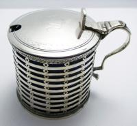 Antique Edwardian 1902 Large Solid Sterling Silver & Blue Glass Liner Pierced Mustard Pot Cruet. English Hallmarked