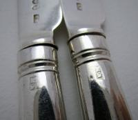 Pair 1802 Antique George III Sterling Silver Table / Dinner Knives, Moses Brent, Dread God Motto (7 of 10)