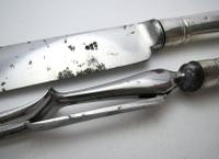 """Very Large 13"""" Antique 1802 Georgian-George III Sterling Silver & Steel Serving Carving Knife + Fork Set, by Moses Brent, Motto Dread God. (5 of 8)"""