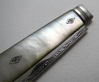 Very Large George III Solid Sterling Silver & Mother of Pearl Mop Antique English Sheffield Folding Pocket Fruit Penknife (13 of 14)