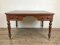 19th Century Antique Inlaid Partners Library Desk Table