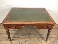 19th Century Antique Inlaid Partners Library Desk Table (3 of 12)