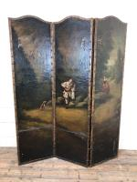 Antique Victorian Hand Painted Leather Screen, Dressing Screen or Room Divider