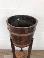Antique Oak Coopered Jardiniere Stand by Lister & Co (5 of 7)