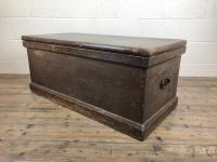 Antique Victorian Stained Pine Trunk (6 of 8)