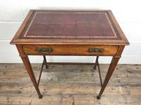 Antique Arts & Crafts Side Table with Leather Top (5 of 11)