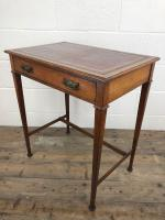 Antique Arts & Crafts Side Table with Leather Top (10 of 11)