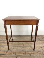 Antique Arts & Crafts Side Table with Leather Top (11 of 11)