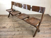 Antique Victorian Elm Four Seater Bench (9 of 15)