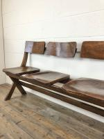 Antique Victorian Elm Four Seater Bench (4 of 15)