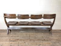 Antique Victorian Elm Four Seater Bench (12 of 15)