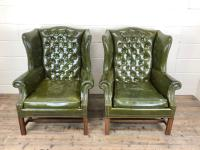 Pair of Green Button Back Chesterfield Wing Back Armchairs (2 of 14)