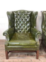 Pair of Green Button Back Chesterfield Wing Back Armchairs (3 of 14)