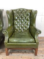Pair of Green Button Back Chesterfield Wing Back Armchairs (4 of 14)