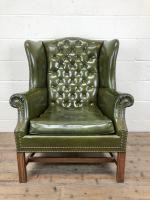 Pair of Green Button Back Chesterfield Wing Back Armchairs (6 of 14)