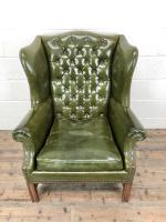 Pair of Green Button Back Chesterfield Wing Back Armchairs (7 of 14)