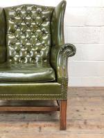 Pair of Green Button Back Chesterfield Wing Back Armchairs (8 of 14)