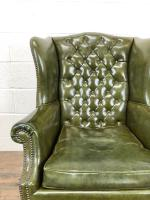 Pair of Green Button Back Chesterfield Wing Back Armchairs (9 of 14)