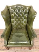 Pair of Green Button Back Chesterfield Wing Back Armchairs (10 of 14)