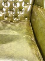 Pair of Green Button Back Chesterfield Wing Back Armchairs (11 of 14)