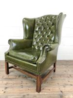 Pair of Green Button Back Chesterfield Wing Back Armchairs (12 of 14)