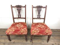 Pair of Antique Bedroom Chairs with Fabric Seats (2 of 7)