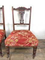Pair of Antique Bedroom Chairs with Fabric Seats (3 of 7)