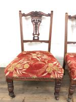 Pair of Antique Bedroom Chairs with Fabric Seats (4 of 7)