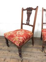 Pair of Antique Bedroom Chairs with Fabric Seats (6 of 7)